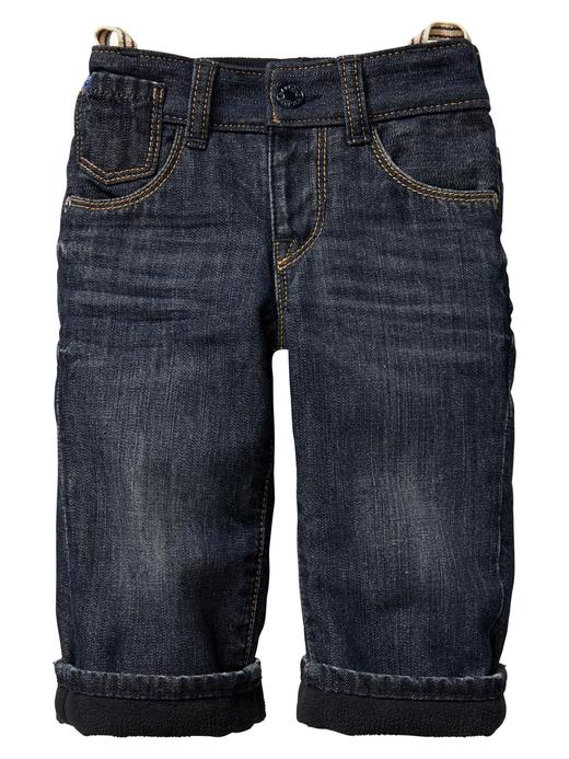 mavi denim Polar astarlı Loose jean pantolon