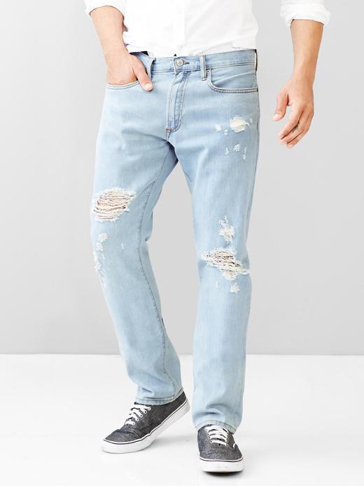 Erkek açık mavi 1969 slim fit eskitilmiş jean pantolon