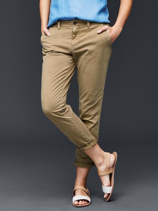 Kadın bej Girlfriend chino pantolon