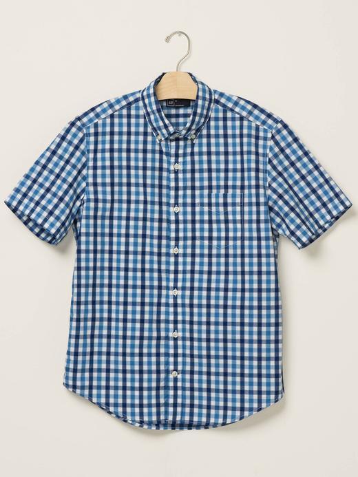 açık mavi Kareli kısa kollu gömlek