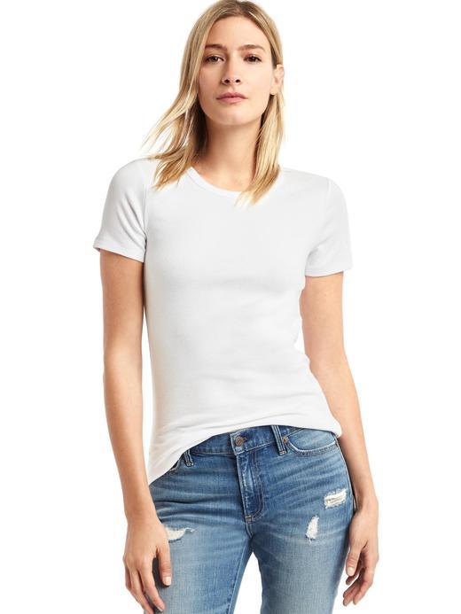 Kadın beyaz Modern bisiklet yaka t-shirt