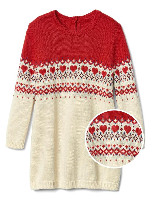 Bebek Kırmızı Fair isle deseli kazak elbise