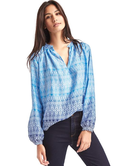 mavi İpeksi dokulu bluz