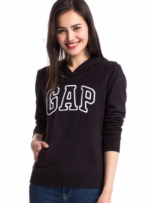 Kadın Siyah Kadın Gap Logo Kapüşonlu Sweatshirt