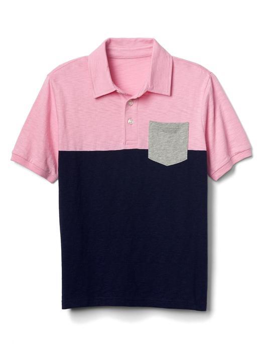 Erkek Çocuk pembe Kısa kollu polo yaka t-shirt