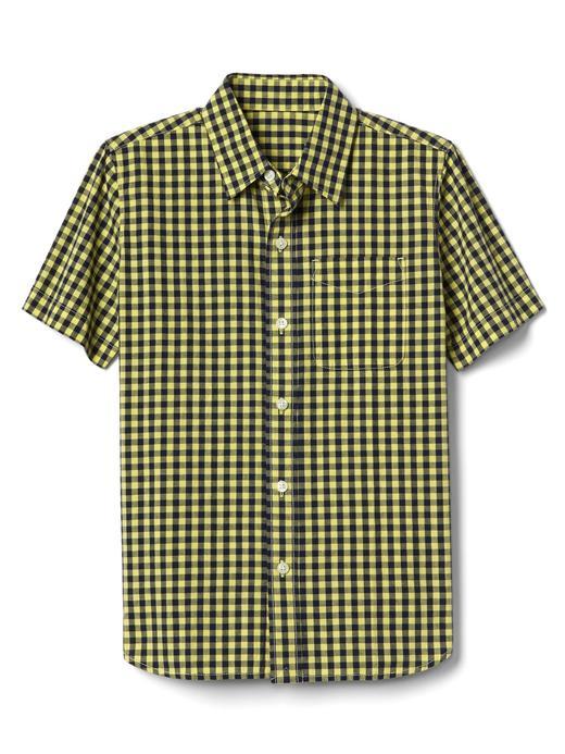 Erkek Çocuk sarı Pötikareli kısa kollu gömlek