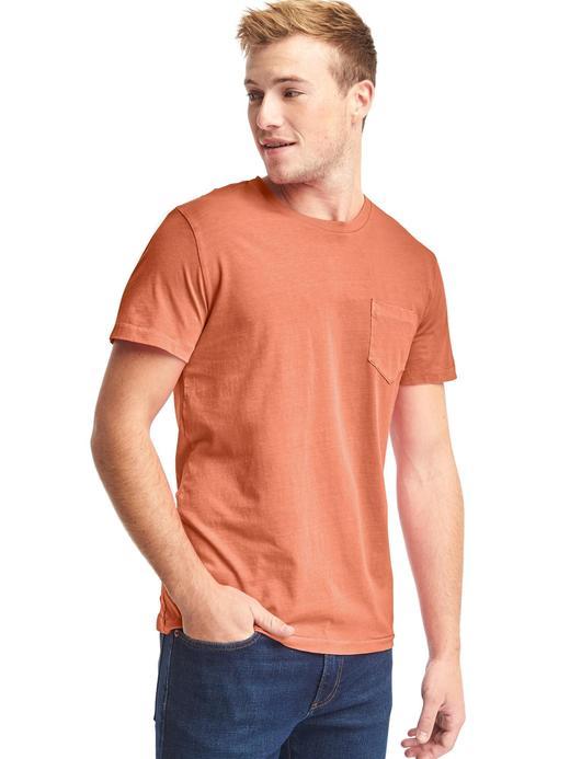 Erkek Turuncu Saf Pamuklu Cepli Sıfır Yaka T-Shirt