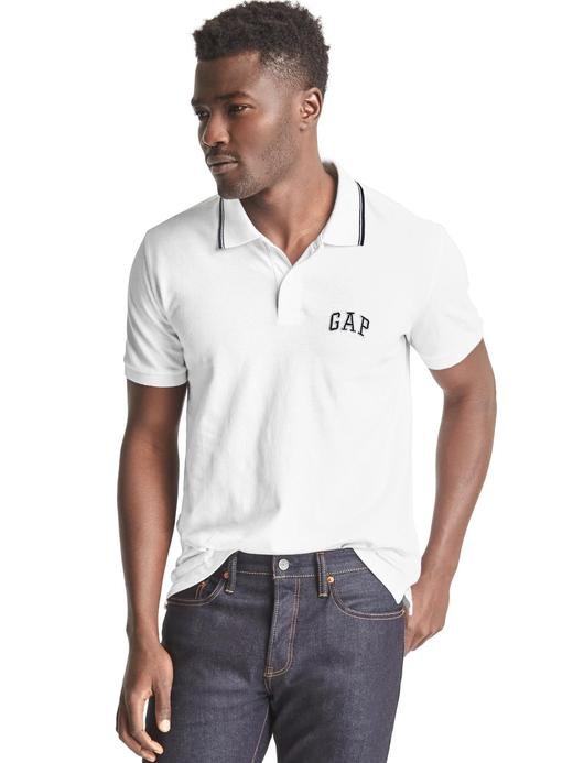 Beyaz Gap logolu polo yaka t-shirt