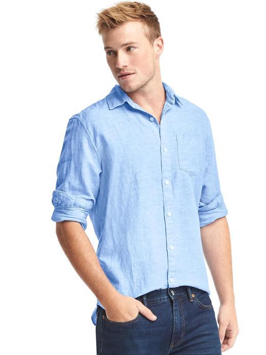 Erkek gökyüzü mavisi Keten-pamuk karışımlı standart fit gömlek