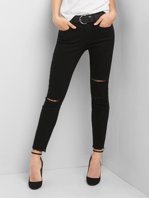 Kadın Siyah True Skinny orta bel jean pantolon