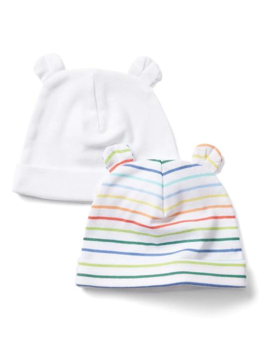 Bebek çok renkli çizgili Çizgili örgü bere (2 parça)