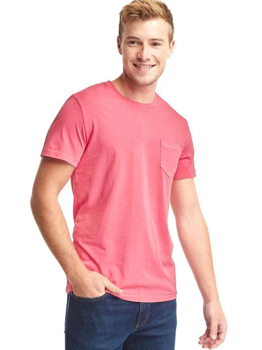 pembe Saf Pamuklu Cepli Sıfır Yaka T-Shirt