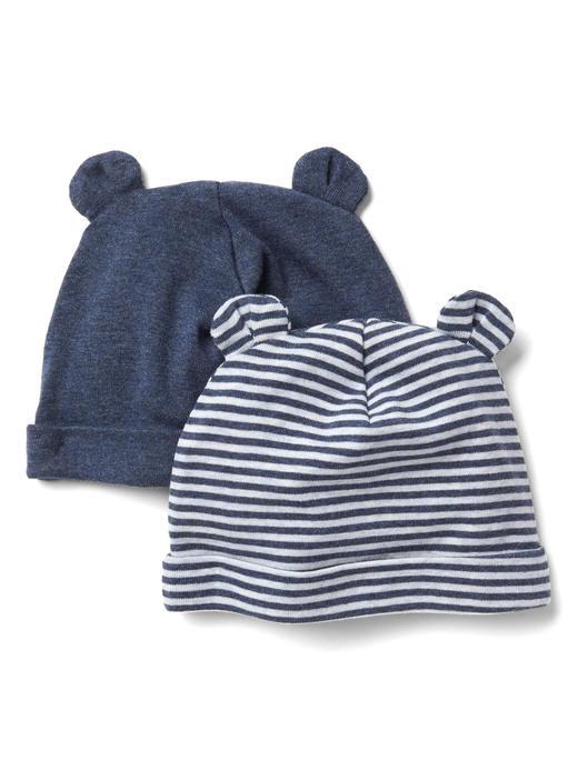 Bebek kırçıllı lacivert Çizgili şapka (2 parça)