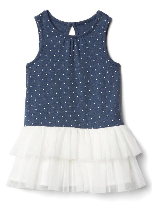 kırçıllı mavi Benekli tütü elbise
