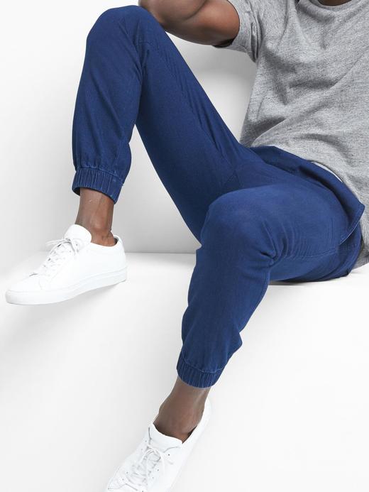 Koyu indigo Rahat kumaş jogger pantolon