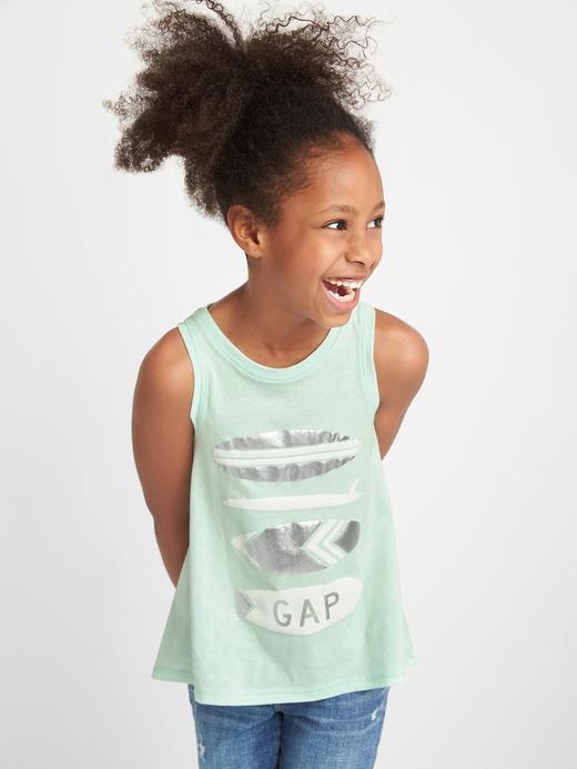 Kız Çocuk Yeşil Grafik desenli atlet