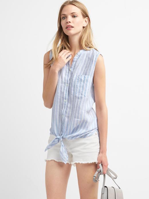 Çizgili kolsuz önden bağlamalı gömlek