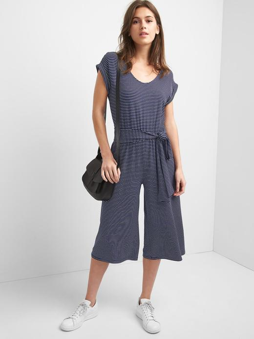 Kadın lacivert/beyaz çizgili Çizgili kısa paça pantolon etek tulum
