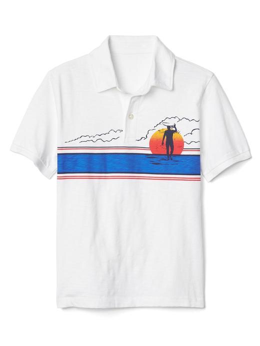 beyaz Desenli polo yaka t-shirt
