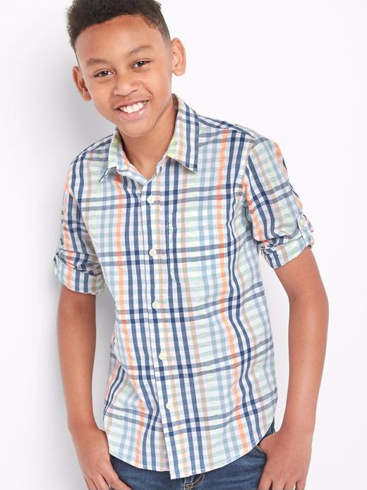 Erkek Çocuk mavi Kısa kollu ekose poplin gömlek
