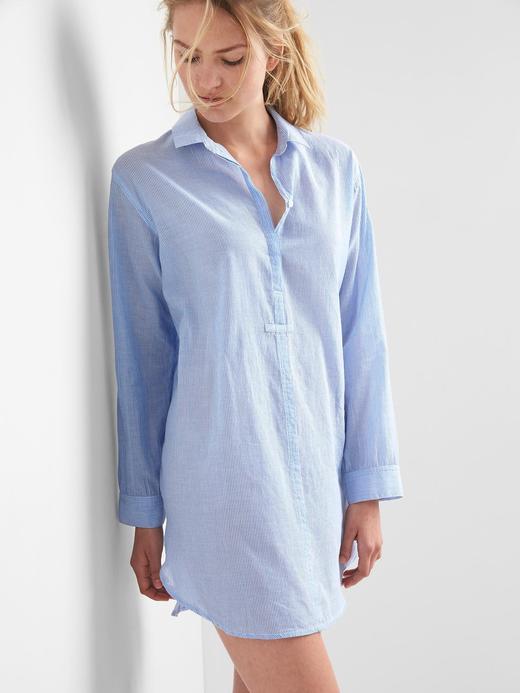 açık mavi çizgili DreamWell gömlek elbise