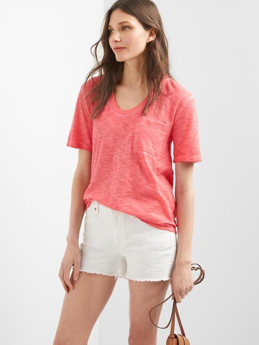 Kadın Kırmızı Cepli t-shirt