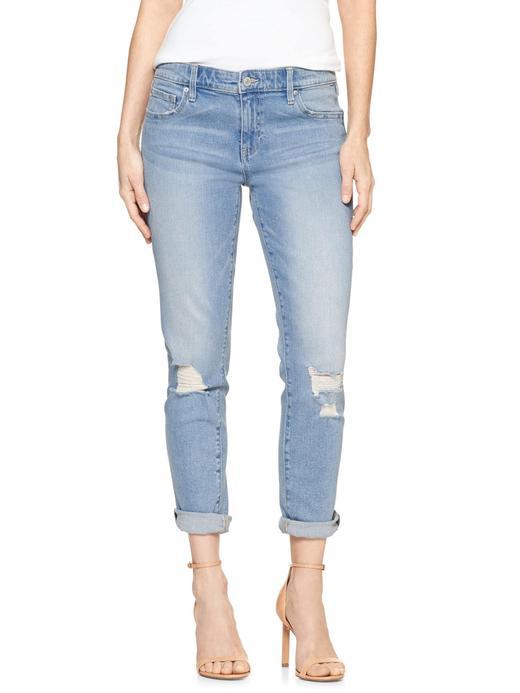 Kadın orta indigo Orta belli kısa paçalı girlfriend jean pantolon