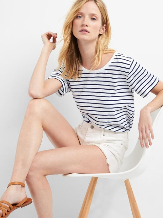 beyaz çizgili Çizgili Kayık Yaka Kısa Kollu T-shirt