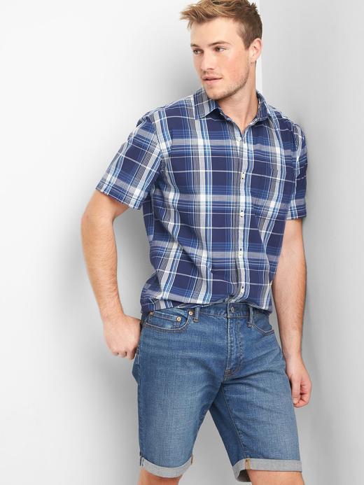 Ekose desenli kısa kollu gömlek