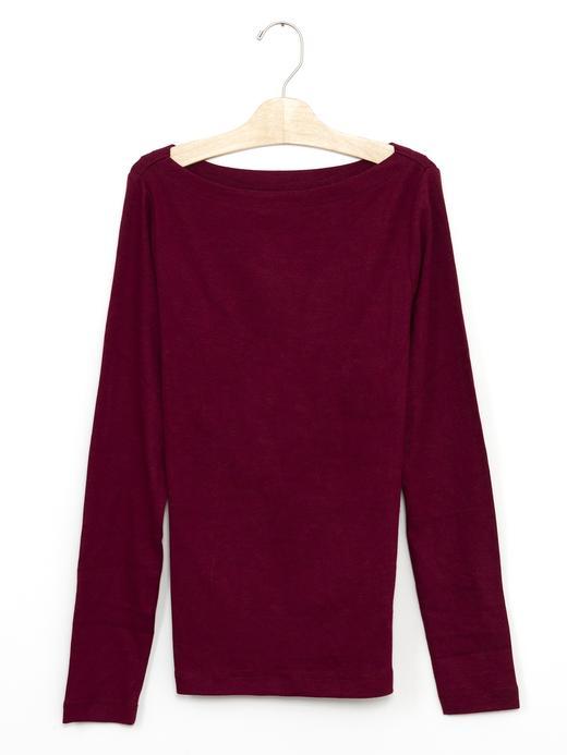 Kadın Kırmızı Uzun Kollu Kayık Yaka T-Shirt
