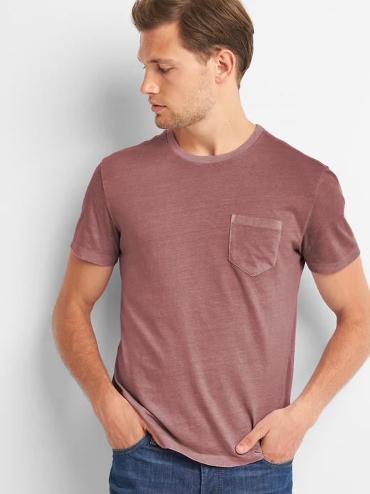 bordo Saf Pamuklu Cepli Sıfır Yaka T-Shirt