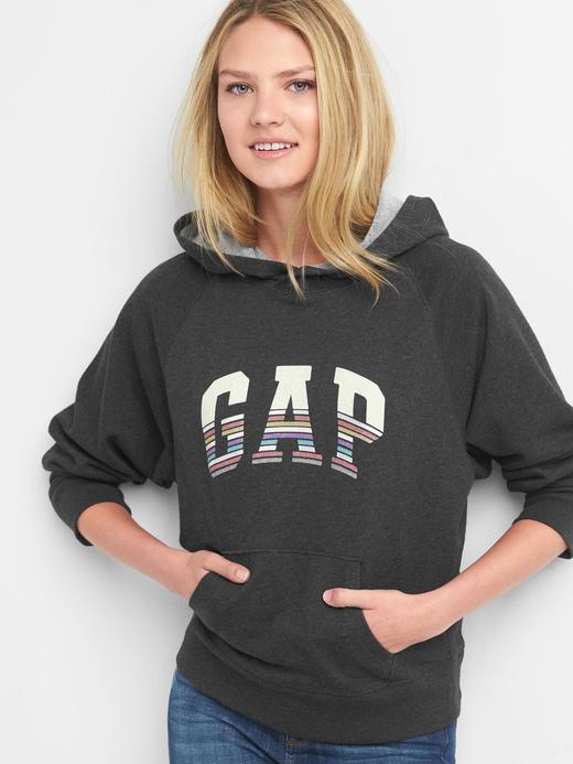 Çizgili logolu kapüşonlu sweatshirt