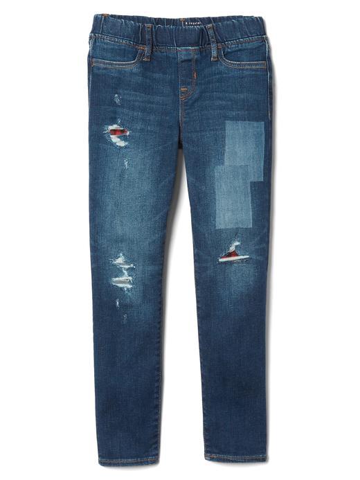 Kız Çocuk koyu yıkama Ekose detaylı streç yırtık jegging pantolon
