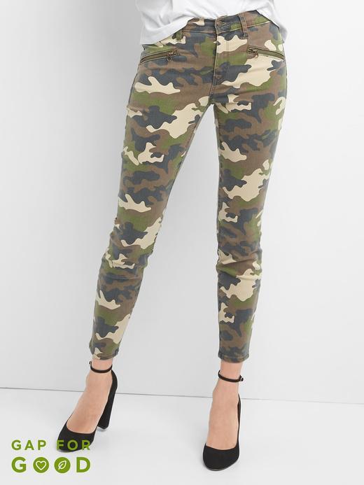 Orta belli kamuflaj desenli true skinny jean pantolon