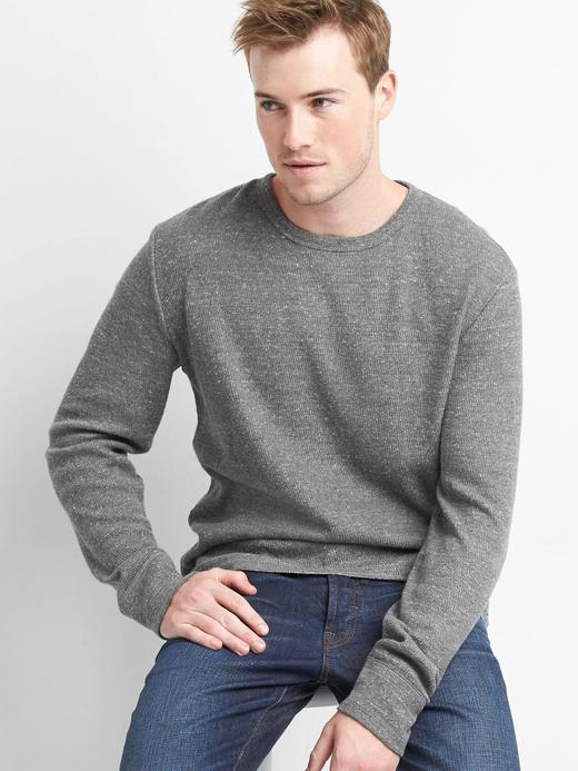 kırçıllı koyu gri Uzun kollu sıfır yaka t-shirt