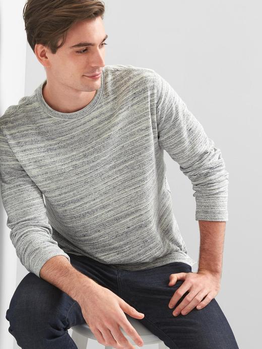 kırçıllı gri Softspun uzun kollu t-shirt
