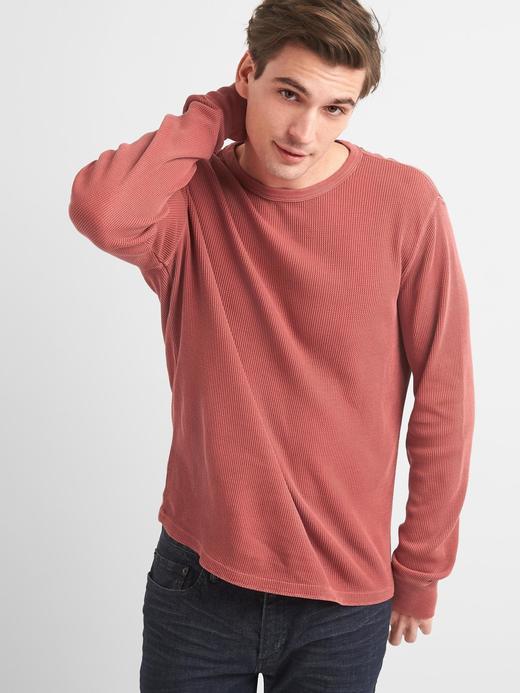 Kırmızı Uzun kollu sıfır yaka t-shirt