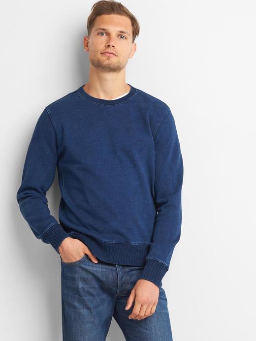 Indigo sıfır yaka sweatshirt