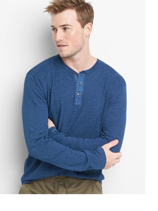 Uzun kollu indigo t-shirt