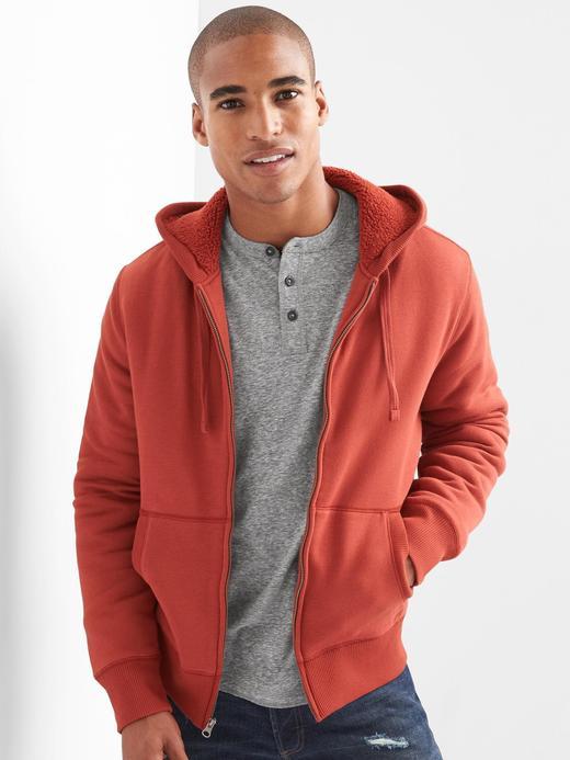 Kırmızı Sherpa astarlı kapüşonlu sweatshirt