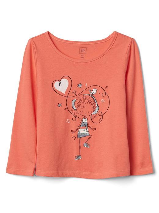 Bebek kız Grafik desenli uzun kollu t-shirt