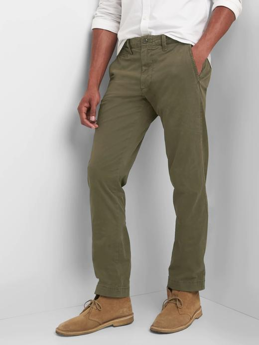 haki Vintage Yıkamalı Slim Fit Khaki Pantolon