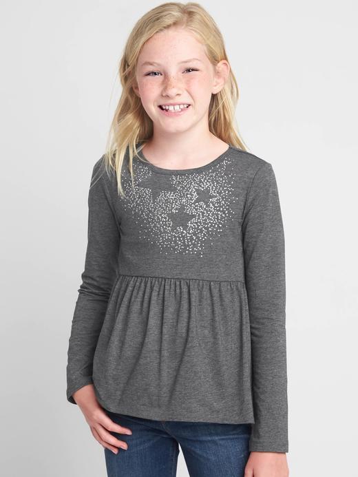 Kız Çocuk kırçıllı gri İşlemeli uzun kollu t-shirt