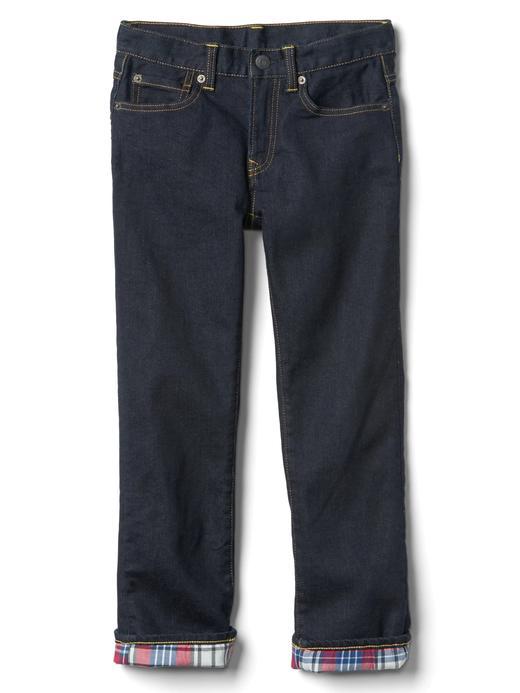 Erkek Çocuk açık renk yıkama Ekose astarlı streç jean pantolon