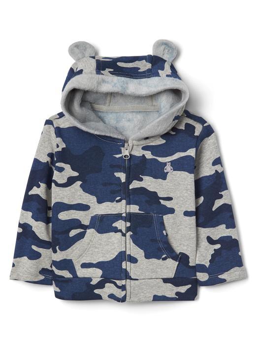 Bebek mavi Yumuşak astarlı fermuarlı ayıcık sweatshirt