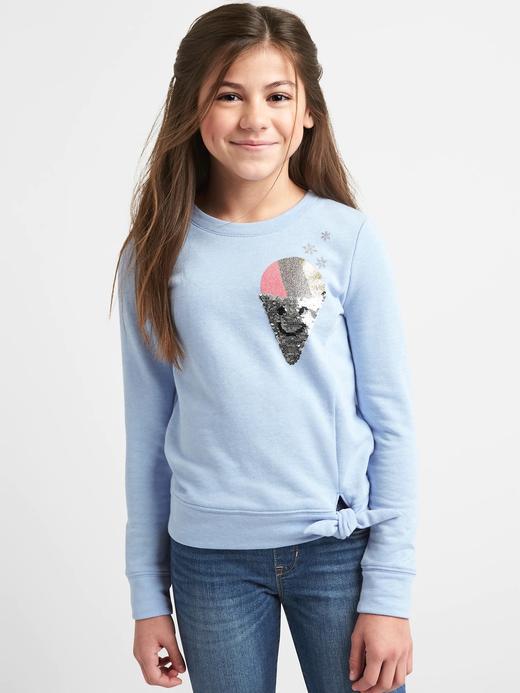 Kız Çocuk açık mavi Desenli pullu kazak