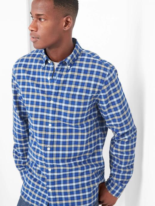 Erkek parlak mavi Oxford gömlek