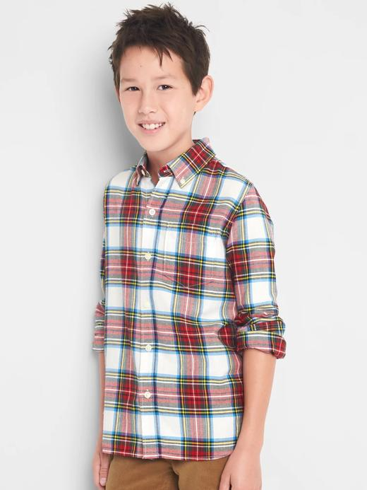 Ekoseli düğmeli gömlek