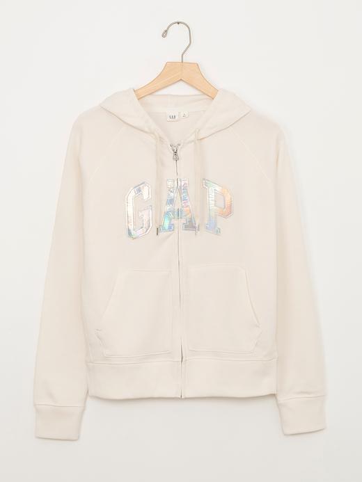 Beyaz Logolu kapüşonlu sweatshirt