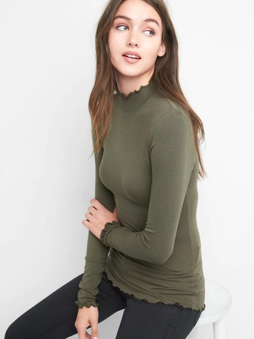 koyu yeşil Fırfır boğazlı uzun kollu t-shirt
